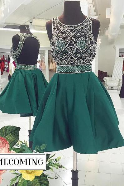 Sexy Homecoming Dresses,A-line Homecoming Dresses,Beaded Homecoming Dresses,Backless Homecoming Dresses,Short Green Prom Dresses,Party Dresses