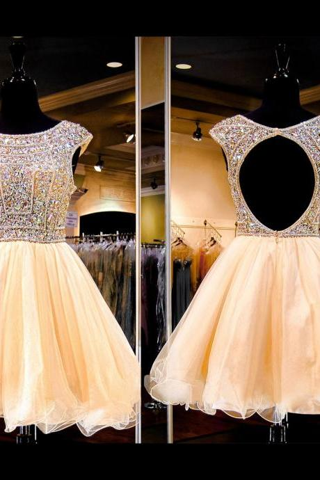 Shiny Beads Homecoming Dresses,A-line Homecoming Dresses,Backless Homecoming Dresses,Short Prom Dresses,Party Dresses