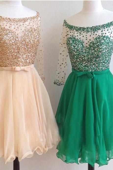 Long Sleeves Homecoming Dresses,A-line Homecoming Dresses,Shiny Beads Homecoming Dresses,Short Prom Dresses,Party Dresses