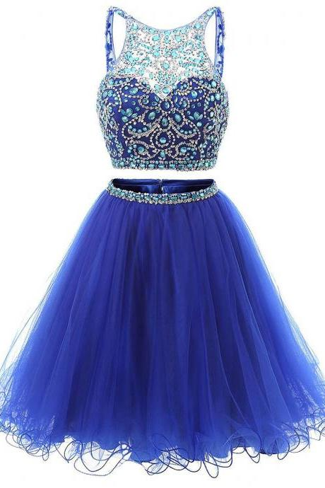 Two Pieces Homecoming Dresses,Blue Homecoming Dresses,Beaded Homecoming Dresses,Backless Homecoming Dresses,Short Prom Dresses,Party Dresses