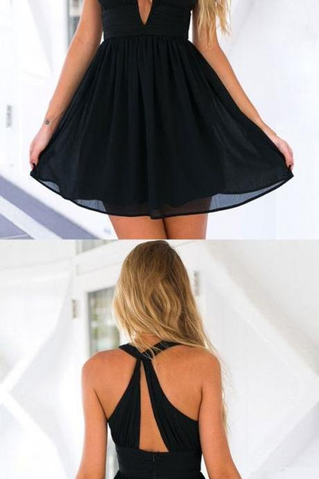 Simple Black Open Back Chiffon Homecoming Dresses#180724