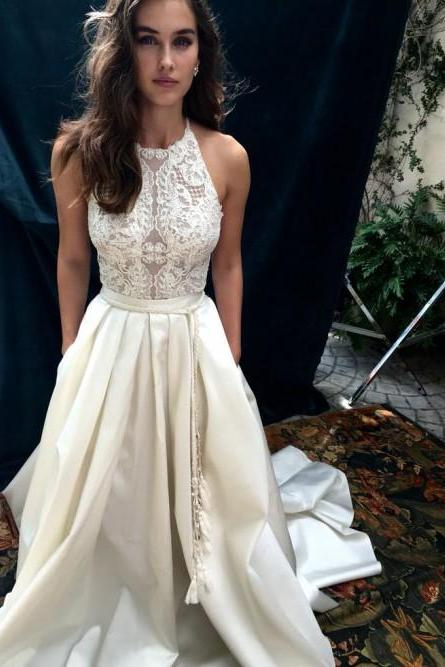 Ivory Prom Dresses, Satin Prom Dresses, Lace Evening Dresses,Floor Length Evening Gowns#181015