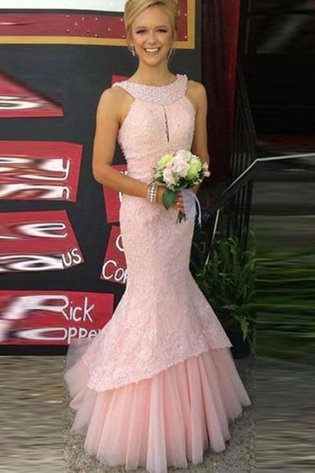 Halter Prom Dresses, Pink Prom Dresses,lace Evening Dresses,Floor Length Evening Gowns#181018