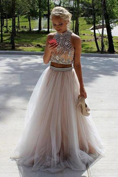 Two Pieces Prom Dresses,Beading Prom Dresses,Backless Prom Dresses,A-line Evening Dresses,Plus Size Prom Dress,Party Dresses