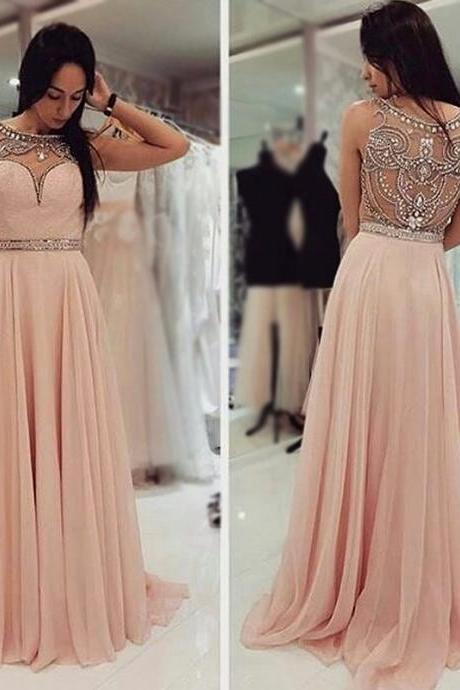 A-line Pink Prom Dresses,Beaded Prom Dresses,Long Prom Dresses,See Through Prom Dresses,Plus Size Prom Dresses,Evening Dresses,Party Dresses