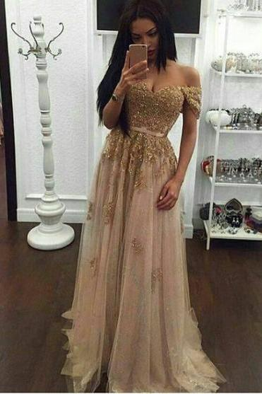 2017 Long Prom Dresses,Off Shoulder Prom Dresses,A-line Prom Dresses,Appliques Prom Dresses,Plus Size Prom Dresses,Evening Dresses
