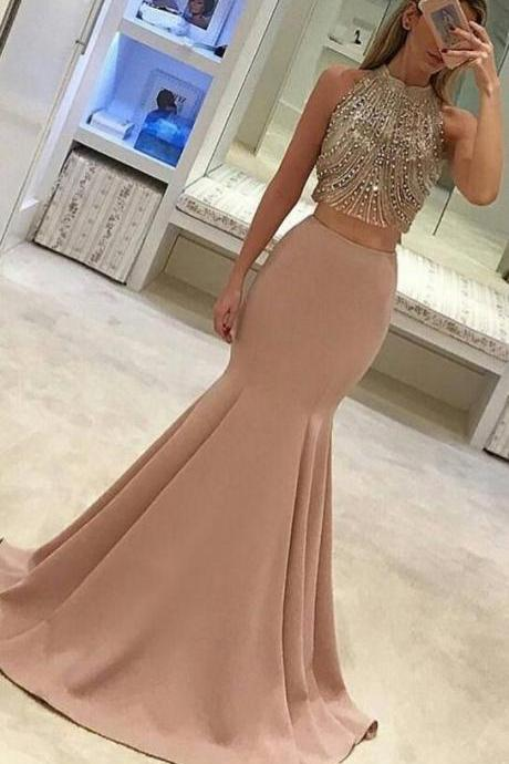 Two Pieces Prom Dress, Blush Pink Prom Dress, Mermaid Prom Dress, Beaded Prom Dress, Evening Dress, Party Prom Dress,Custom Made Prom Dress