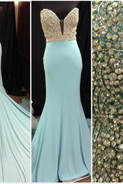 Mermaid Prom Dresses,Beaded Prom Dresses,Blue Prom Dresses,Sweep Train Prom DressesEvening Dresses,Custom Made Prom Dress,Party Dresses