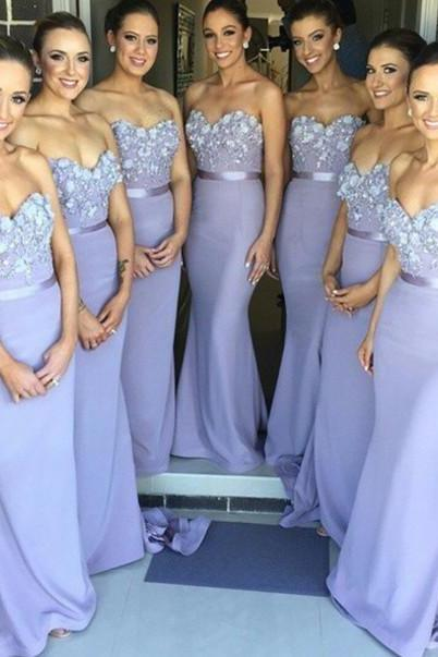 Long Bridesmaid Dresses,Elegant Bridesmaid Dresses,Sweetheart Bridesmaid Dresses,Light Purple Bridesmaid Dresses,Wedding Party Dresses