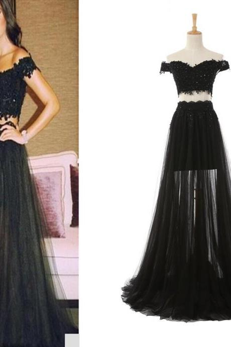 A-line Black Prom Dresses,Two Pieces Prom Dresses,Lace Appliques Prom Dresses,Plus Size Prom Dresses,Evening Dresses,Party Dresses