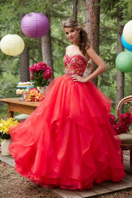 Gorgeous Princess Prom Dresses,A-line Prom Dresses,Embroidery Prom Dresses,Appliques Prom Dresses,Ball Gown Prom Dresses,Evening Dresses,Party Dresses