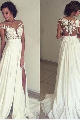 Elegant Wedding Dresses,Lace Appliques Wedding Dresses,White Wedding Dresses,See Through Bridal Gowns,Split Wedding Dresses