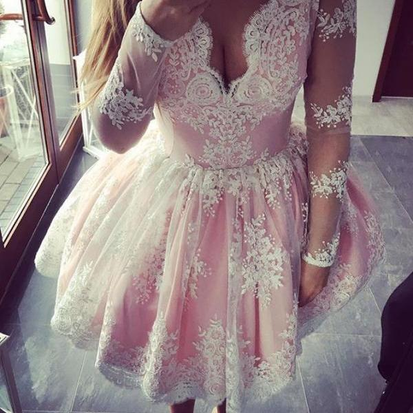 2017 Homecoming Dresses,A-line Homecoming Dresses,Pink Homecoming Dresses,Appliques Homecoming Dresses,Long Sleeves Homecoming Dresses,Short Prom Dresses,Party Dresses